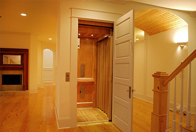 home elevator in hall